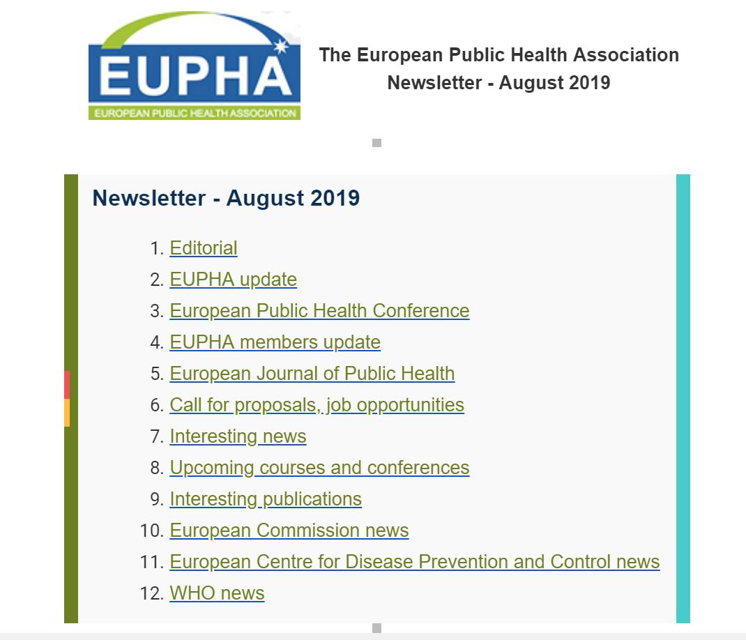 Eupha Newsletter Ago 2019